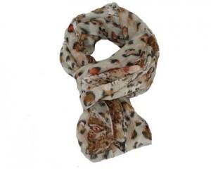 Beige løve tørklæde med leopardprint