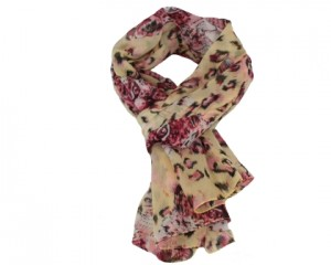 Bestil gul og rosa tørklæde med leoparder