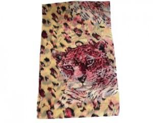 Gult tørklæde med leopard motiv