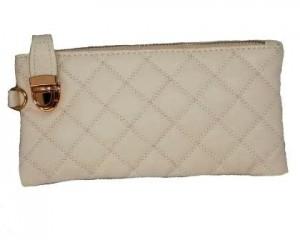 Bestil hvid clutch i læder med lynlås og knap 700.076