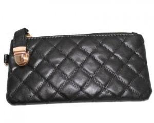 Køb sort læder clutch med tern og lynlås 700.074