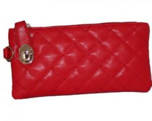 Rød læder clutch i ternet design 700.075