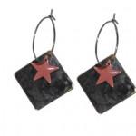 Antik sort øreringe i firkantet design med rosa stjerne vedhæng 116.149