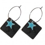 Bestil sorte øreringe med mint stjernevedhæng online 116.160