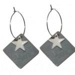 Grå antik emalje firkant med lille hvid emalje stjerne vedhæng 116.137