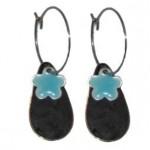 Sorte dråbe øreringe med turkis blå blomster vedhæng 116.141