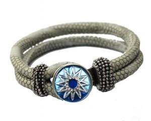 Grå armbånd med udskiftelig smykke