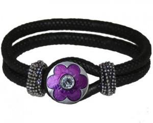 Sort armbånd med udskiftelig smykke med lilla blomst