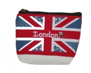 Bestil kanvaspung med det engelske flag og London. Pung med lynlås