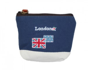 Bestil lille kanvaspung i blå og hvide farver med London logo