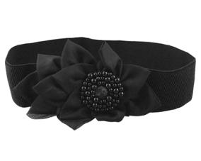 Bredt sort elastikbælte med smuk stofblomst med små sorte perler