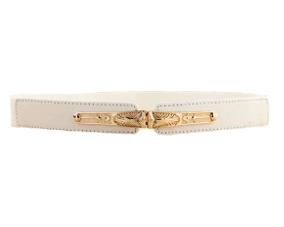 Hvidt elastikbælte i smalt design med smukt spænde