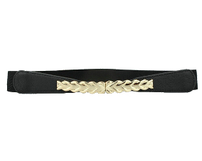 Smalt elastikbælte i sort med elegant spænde