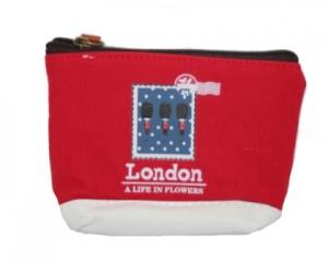 Lille kanvas pung i rød med London motiv online