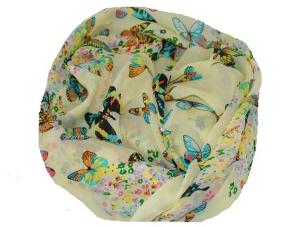 Sarte gule tørklæder med sommerfugle i flotte farver online