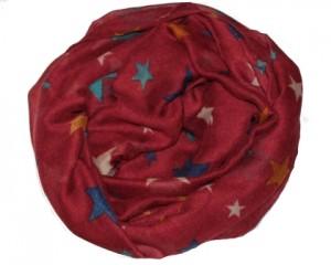 Mørkerødt tørklæde med stjerner i forskellige farver online