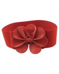 Flot rød elastikbælte med læderblomst som spænde