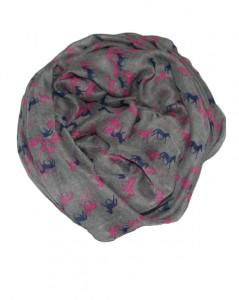 Tørklæde i grå med små pink og blå heste