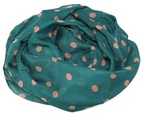 Grønt tørklæde med beige prikker billigt tørklæde