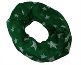 Tubetørklæde i mørk grøn med hvide stjerner