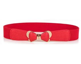 Smalt elastikbælte i rød med sløjfe spænde som lukning