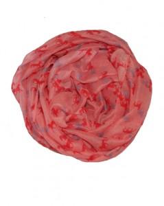 Rosa tørklæde med små heste i rød og lilla