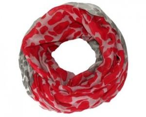 Tubetørklæde i rød og grå med leopardpletter online