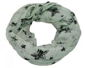 Tubetørklæde i mintgrøn med sorte stjerner