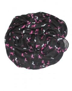 Stort hestetørklæde i sort med små heste i pink og hvid