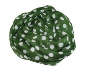Tørklæde i mørkegrøn med hvide prikker online