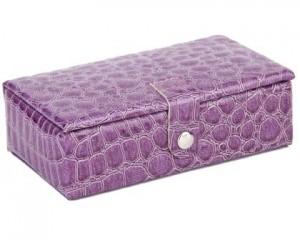 Lille firkantet smykkeskrin i lilla i praktisk design