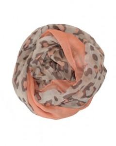 Leopardtørklæder med lys orange kant og leopardpletter i lys orange