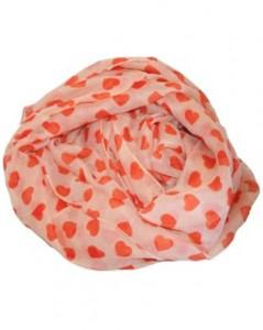 Tørklæde i lys orange med mørke orange hjerter