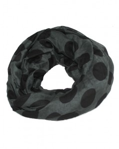 Mørkegrå tubetørklæder med store sorte prikker online