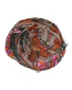 Sommerfugle tørklæde i brune og rosa farver i Smikka webshop