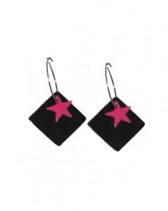 Øreringe med sorte og pink vedhæng online Smikka