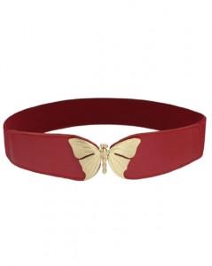 Elastikbælte i rød med spænde designet som sommerfugle bestil online Smikka webshop