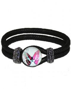 Sort armbånd med sommerfugle smykke i lyse farver online Smikka webshop