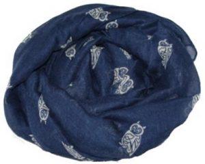 Tørklæde i blå med hvide ugler