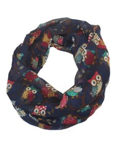 Mørkeblå tørklæde med ugler i flotte farver