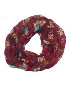 Tørklæde i bordeaux rød med smukke ugleprint