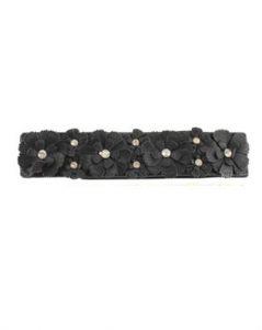 Langt sort bælte med blomster og små sten online i Smikkas webshop