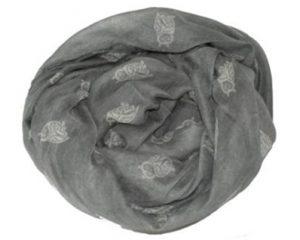 Tørklæde i grå med hvide ugler online Smikka webshop
