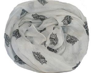 Tørklæde i hvid med sorte ugler online Smikka