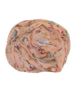 Smukt tørklæde med fugle i flotte farver