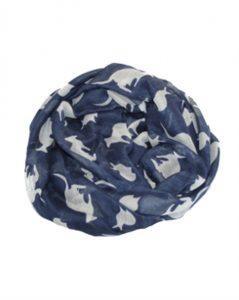 Mørkeblå tørklæde med hvide kænguruer online Smikka webshop