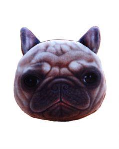 Mindre pung med blødt plys stof med bulldog hunde motiv