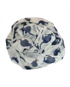 Hvidt tørklæde med mørkeblå kænguruer