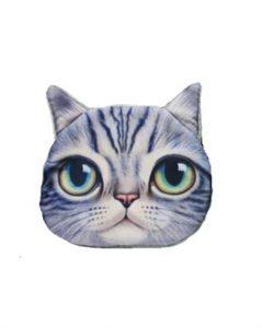 Køb lille pung med kattemotiv i grå med lynlåslukning online 700.108-t