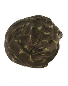 Tørklæder i mørkegrøn med små leoparder